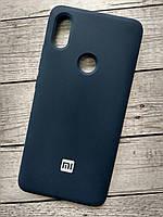 Чехол для Xiaomi Redmi 6 Silicone Cover Soft touch (Logo) dark blue