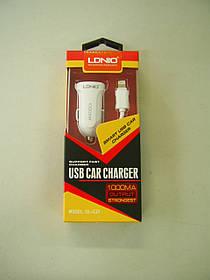 Автомобільний зарядний пристрій LDNIO DL-C17 1A 1 Usb + кабель iPhone white