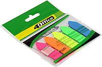 """Стікери-закладки """"4Office"""" №4-426 PP(Стріла) 5 кольорів по 20арк. 12х44мм(50)"""