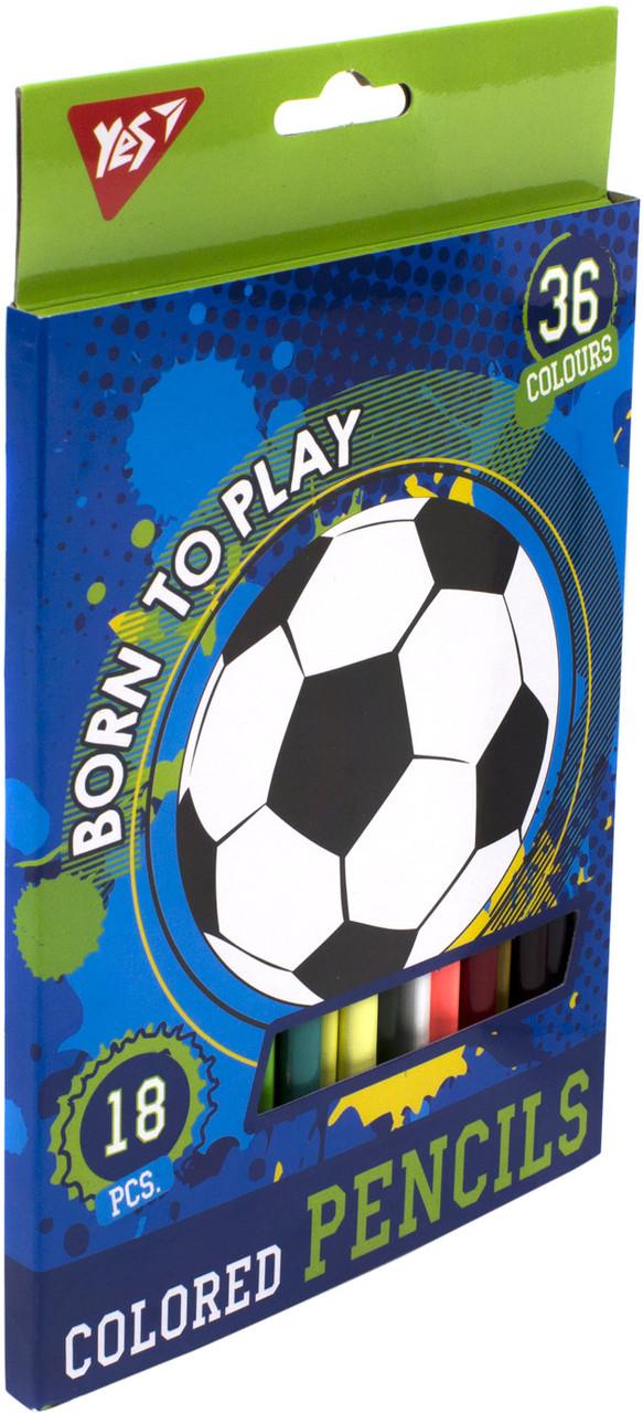 """Олівці кольор. 36 кольор./18шт """"Yes"""" №290559 Born to play(8)"""