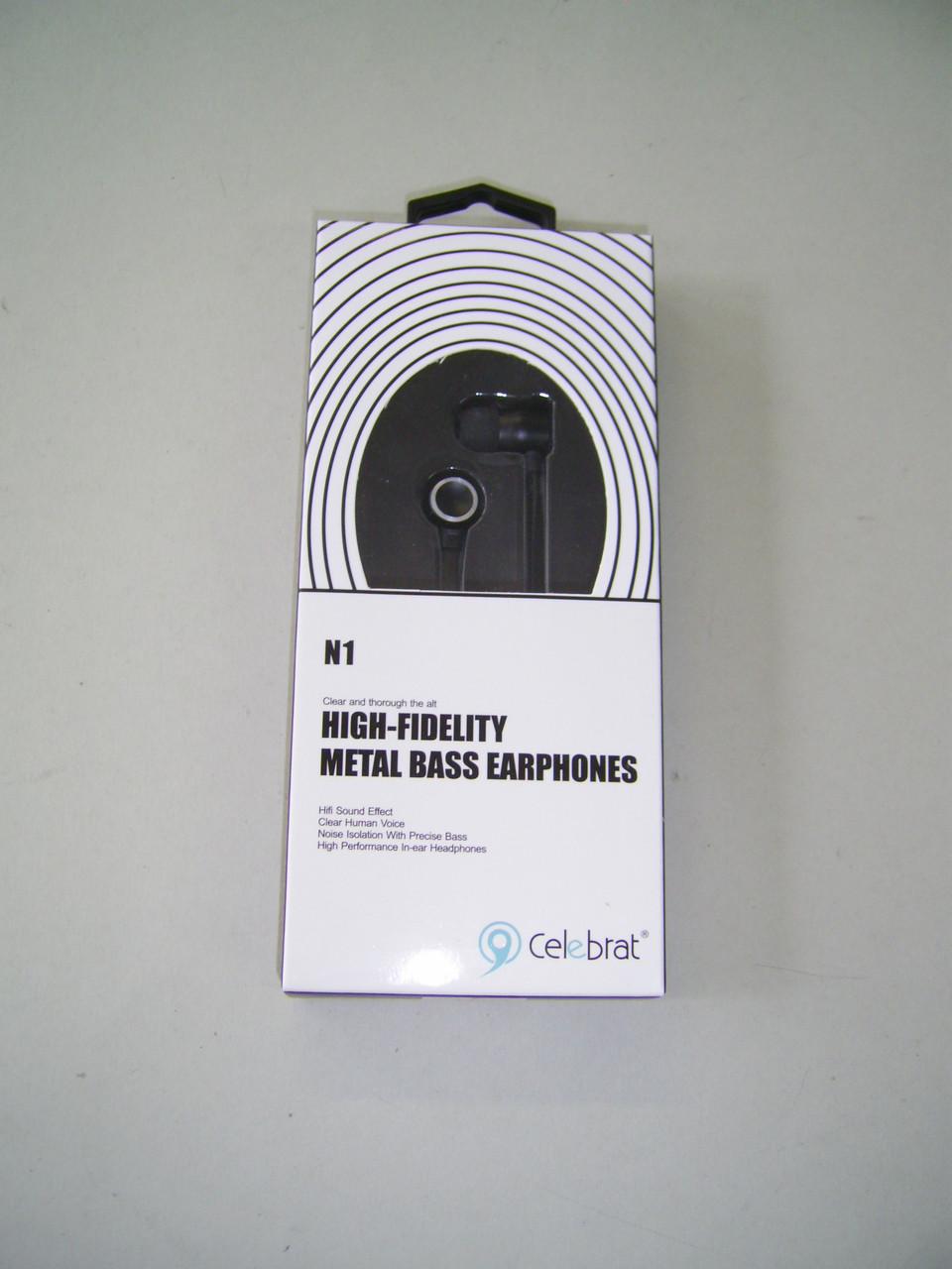 Навушники провідні Celebrat N1 (мікрофон, плоский шнур) Black