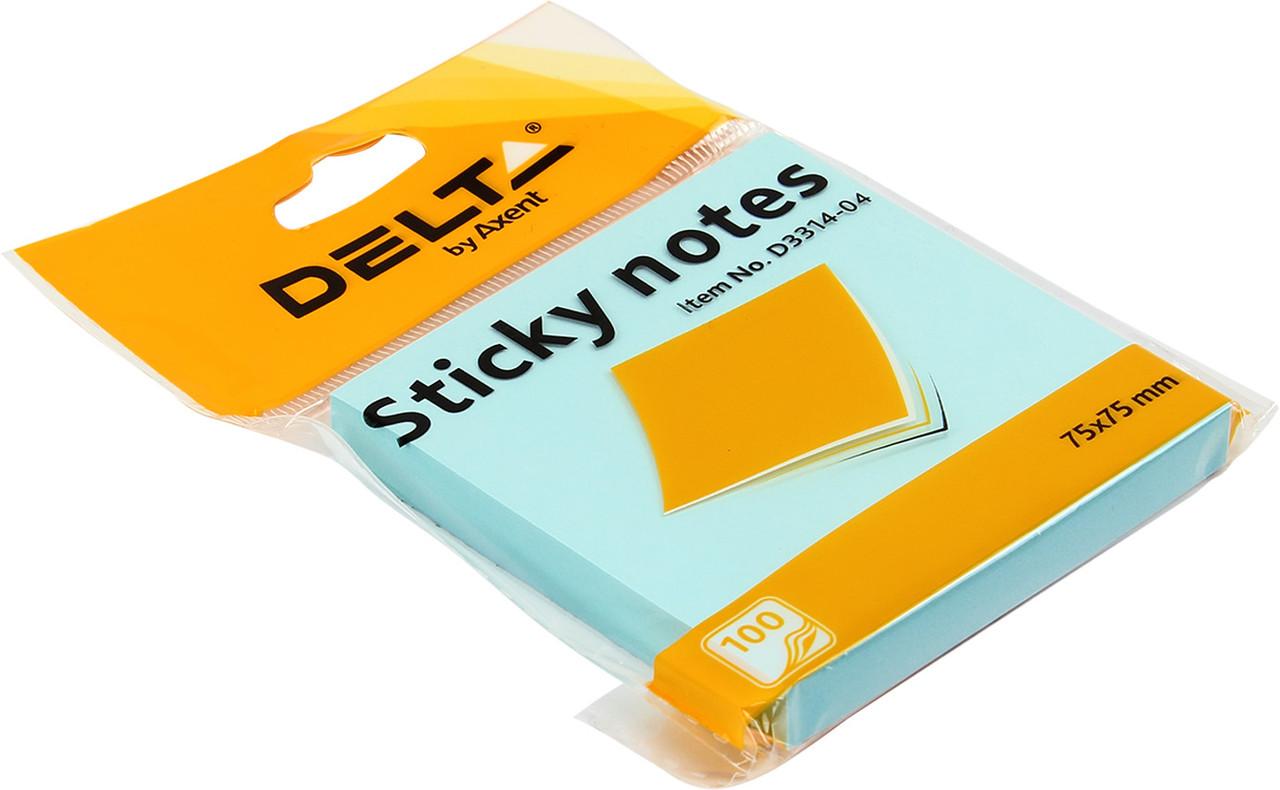 "Блок/зам. липк. шар 75х75мм 100арк. синій ""Delta by Axent/Axent"" №3314-04(1)(24)"