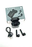 Беспроводные наушники Bluetooth-гарнитура S-Music LinePods AJ301 (+кейс для зарядки и хранения) Black
