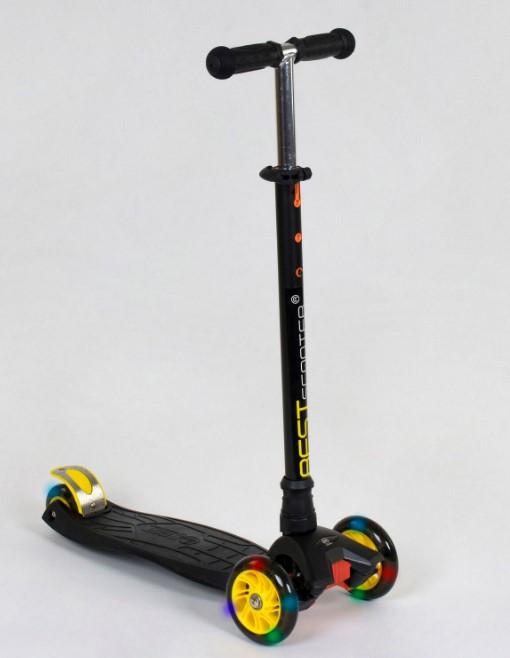 Самокат трехколесный детский со светящимися колесами черный Best Scooter Maxi 466-113/А24320