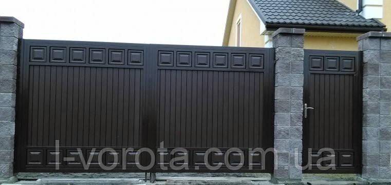 Ворота распашные ш4100, в2000 и калитка ш900, в2000  ТМ Хардвик (дизайн ЛЮКС)