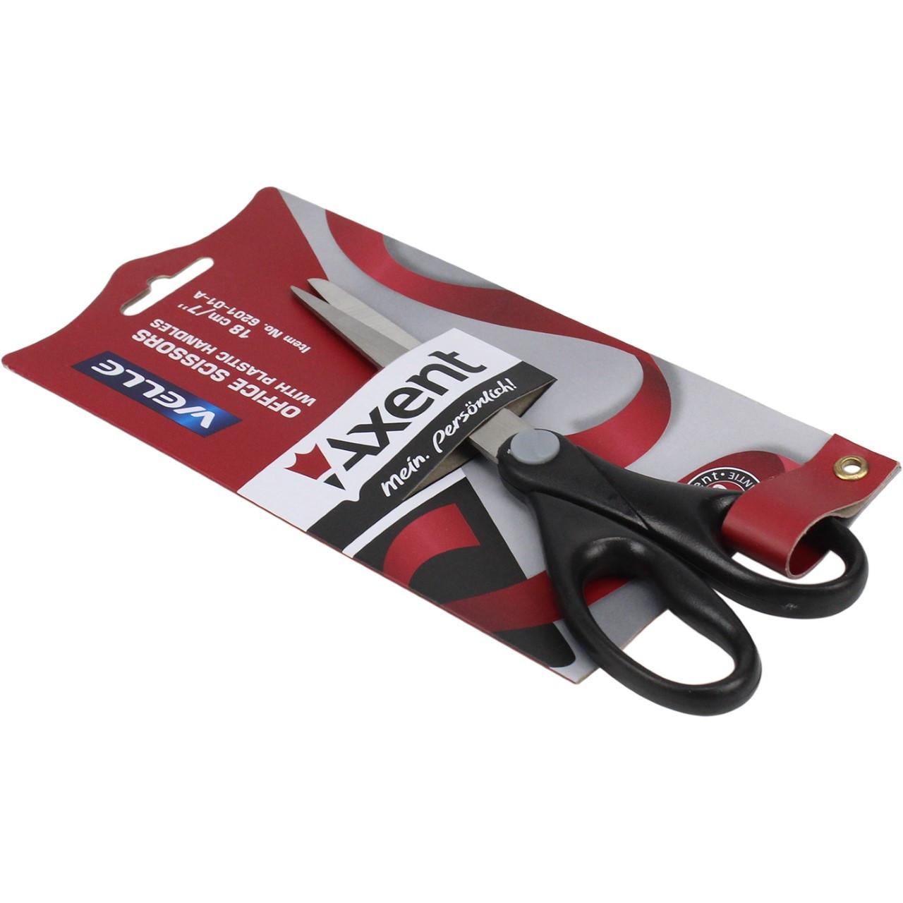"""Ножиці офісн. """"Axent"""" №6201-01 18см Welle пласт.ручки чорні(10)(200)"""
