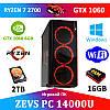 Игровой Мега Монстр ПК ZEVS PC14000 RYZEN 2700 + GTX 1060 6GB +16GB DDR4 +SSD 240GB