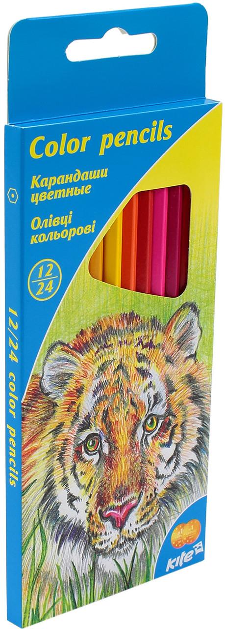 """Олівці кольор. 24 кольор. """"Kite"""" Тварини №K15-054K двостор.(12)(240)"""