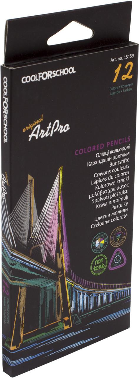 """Олівці кольор. 12 кольор. """"Cool For School"""" № CF15159 ArtPro проф., трикут.(12)"""