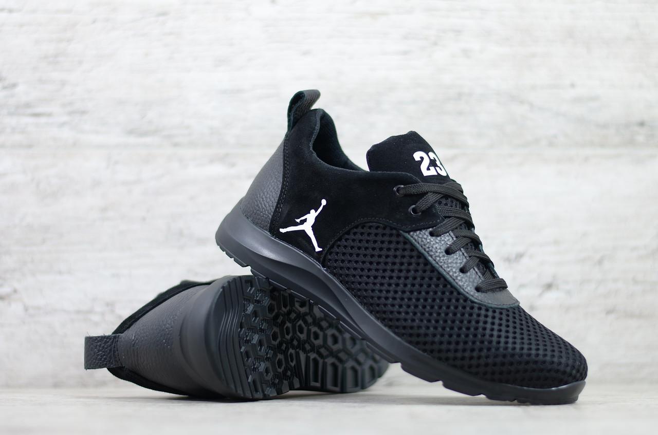 Чоловічі літні/ весняні кросівки чорні текстильні/сітка Jordan