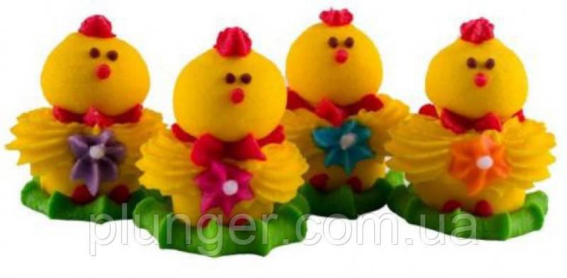 Цукрова прикраса для кондитерських виробів Кумедні курчата набір із 4 шт.