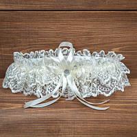Бежевая подвязка на ногу невесты (арт. G-002)