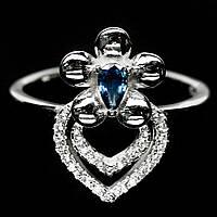 Серебряное кольцо с сапфиром, 5*3 мм., 1404КС