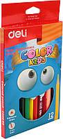 """Олівці кольор. 12 кольор. """"Deli"""" №EC00600 Color Kids Jumbo трикут."""