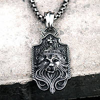 Кулон мужской из стали Царь зверей Лев 8 см 175559