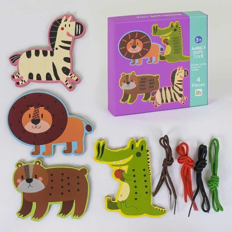 Деревянная игрушка Шнуровка 4 в 1 Зебра Лев Мишка Крокодил 37667