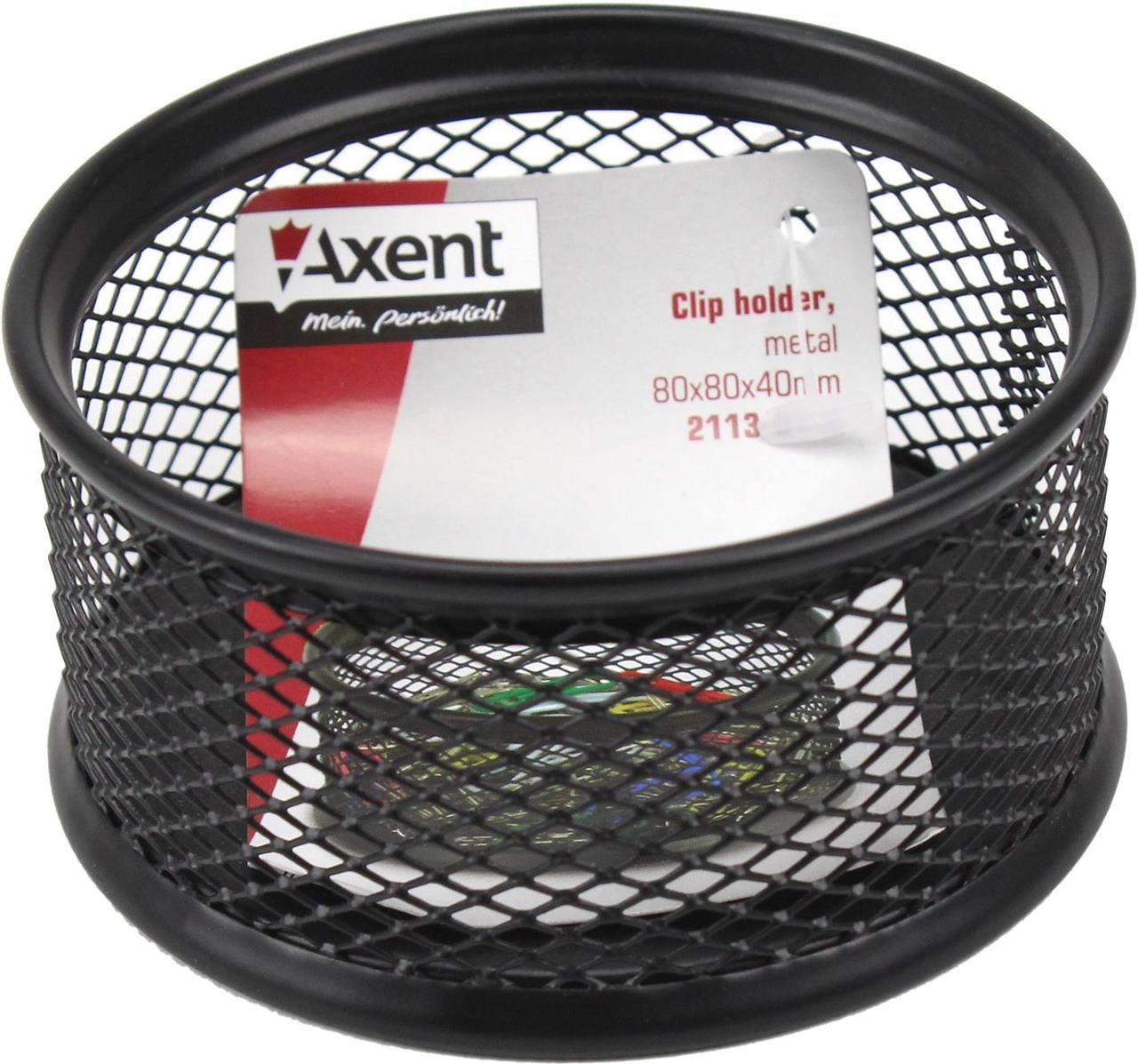 """Підставка для скріпок """"Axent"""" №2113-01 метал.,чорна,80х80х40мм(12)"""