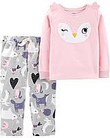 Детская флисовая теплая пижамка Сова Картерс для девочки