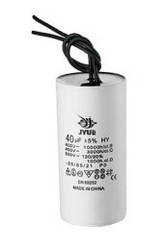 CBB60 6,3 mkf ~ 450 VAC (±5%) конденсатор для пуску і роботи, гнучкі дротяні виводи (30*60 mm)