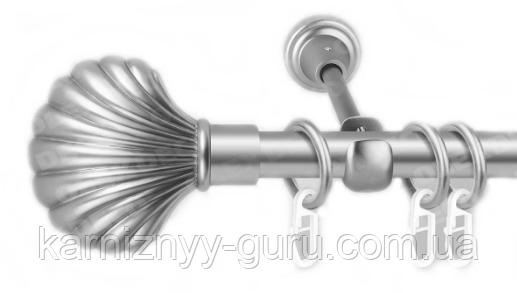 Карниз для штор ø 16 мм, одинарный, наконечник Ракушка
