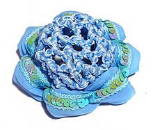 Сеточка на гульку/пучок объемная с пайетками голубая