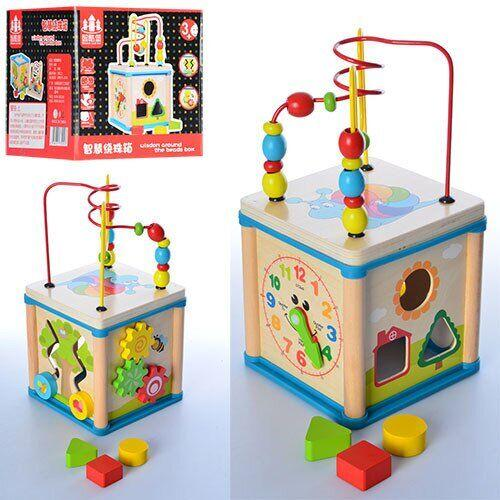Деревянная игрушка лабиринт пальчиковый - бизикуб, сортер многофункциональный