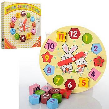 Деревянная игрушка Часы-сортер MD 0719