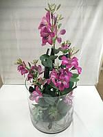 Композиция из искусственных орхидей в стеклянном цилиндре, фото 1