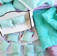 Комплект постельного белья (хлопок) для кукольного домика для кукол LOL (ЛОЛ), 6 ед., фото 4