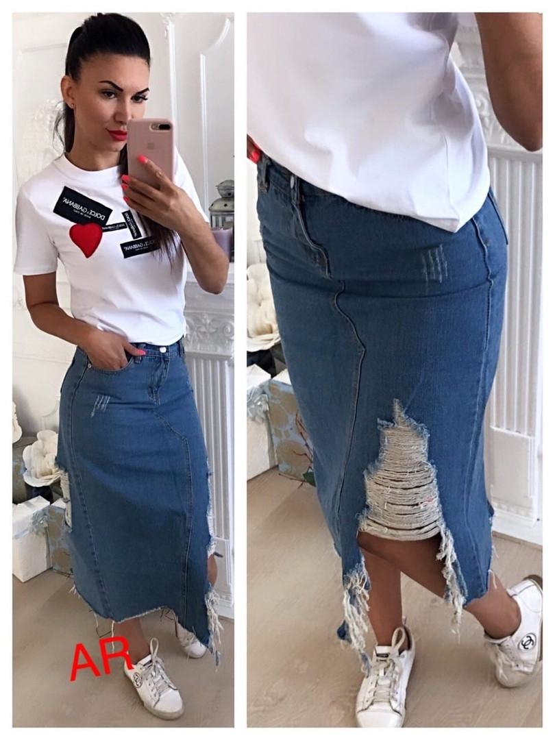 Женская модная джинсовая юбка-миди