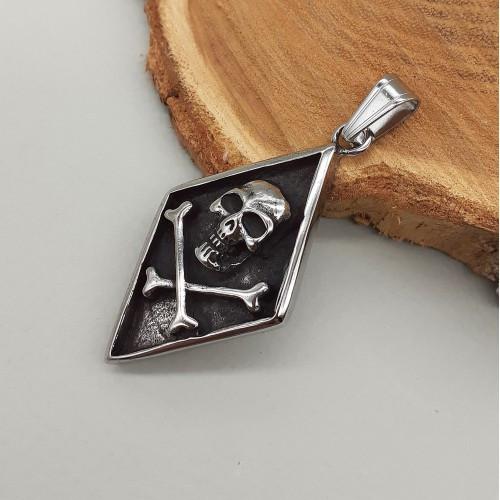 Кулон з чоловічої на шию зі сталі Череп і кістки 65 мм 175560