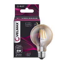 LED лампа филамент шар янтарная