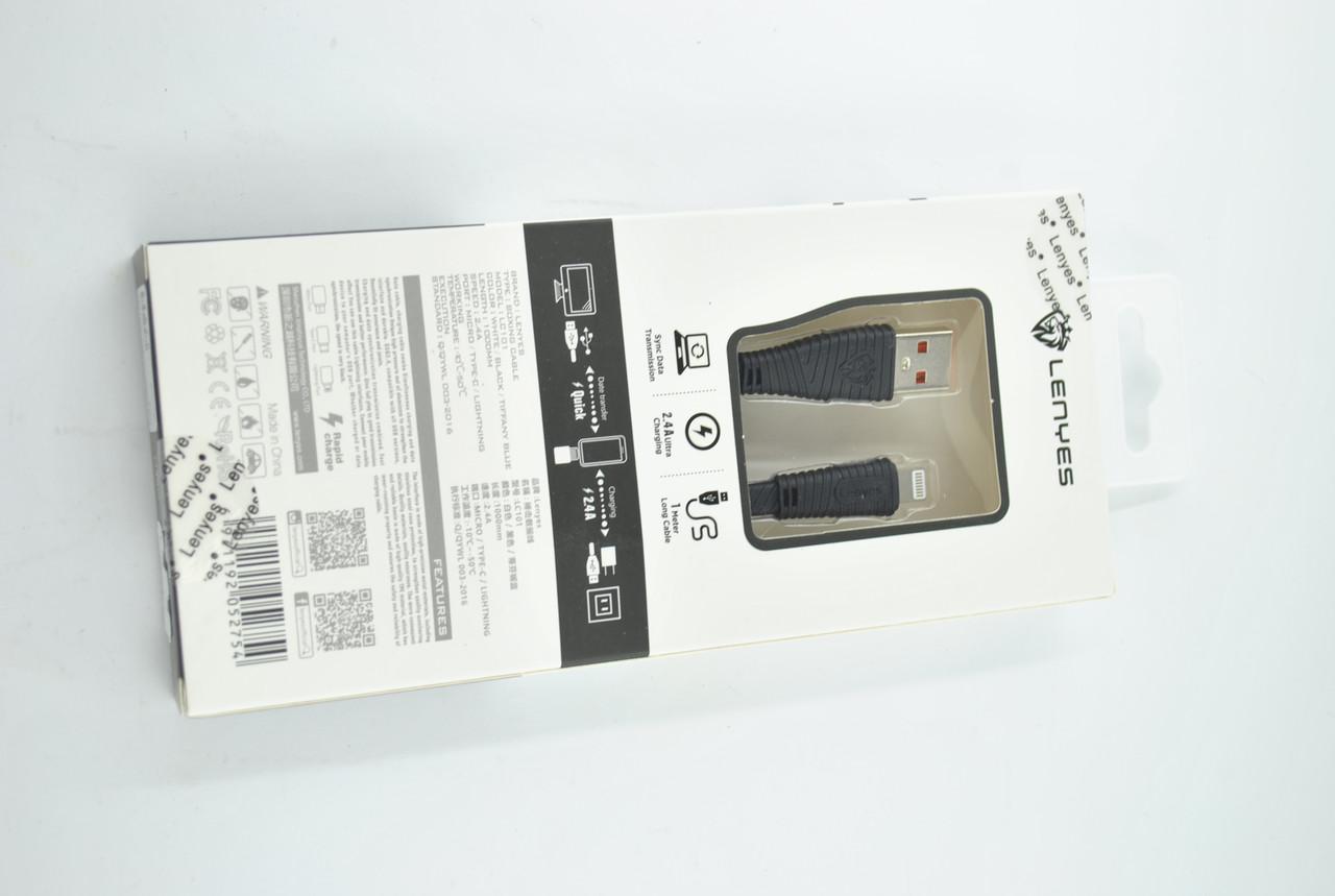 Кабель Usb-cable iPhone Lenyes LC101 2.4A 1m (круглый) Black