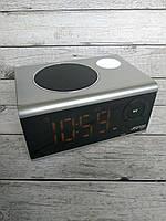 Портативная колонка Aspor A659 (Bluetooth, FM, LCD, часы, фонарик) grey