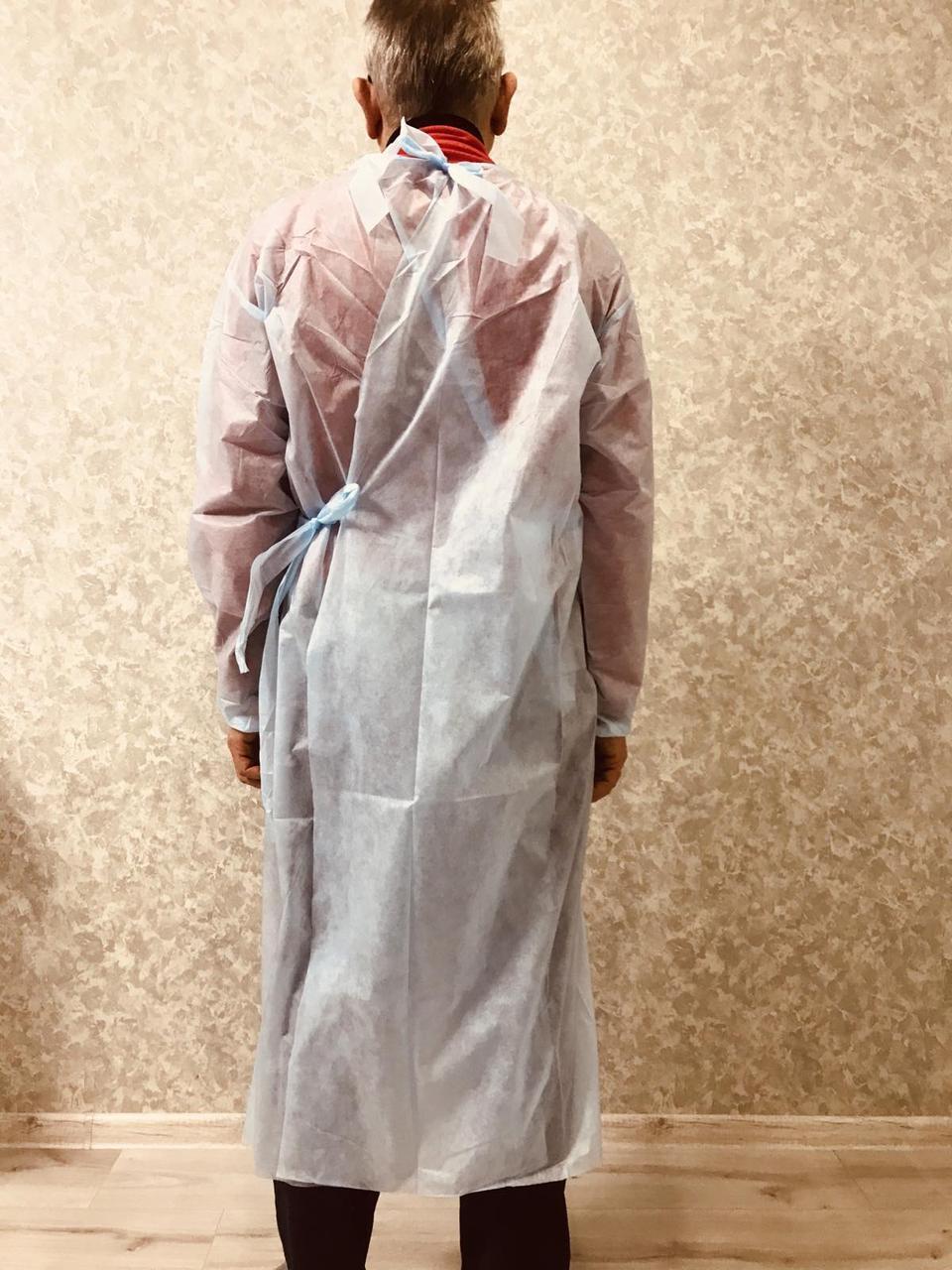 Одноразовый халат на завязках защитный спандбонд размер универсал