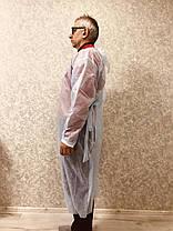 Одноразовый халат на завязках защитный спандбонд размер универсал, фото 3