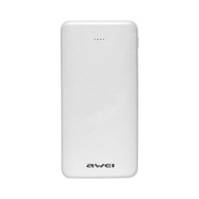 Павербанк Power Bank 10000mAh Awei P99k (2Usb, фонарик) White