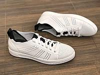 Кожаные мужские кроссовки Mida 130202 бел размеры 41,42, фото 1