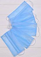 Маска голубая 3 слойная 75г/м (медицинский спанбонд), фото 1