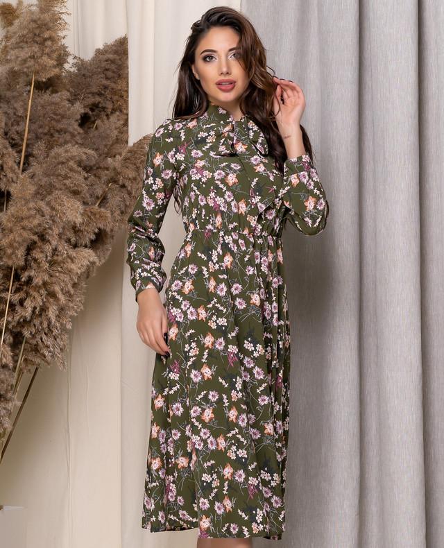 Платье с завышенной талией в цветочный принт