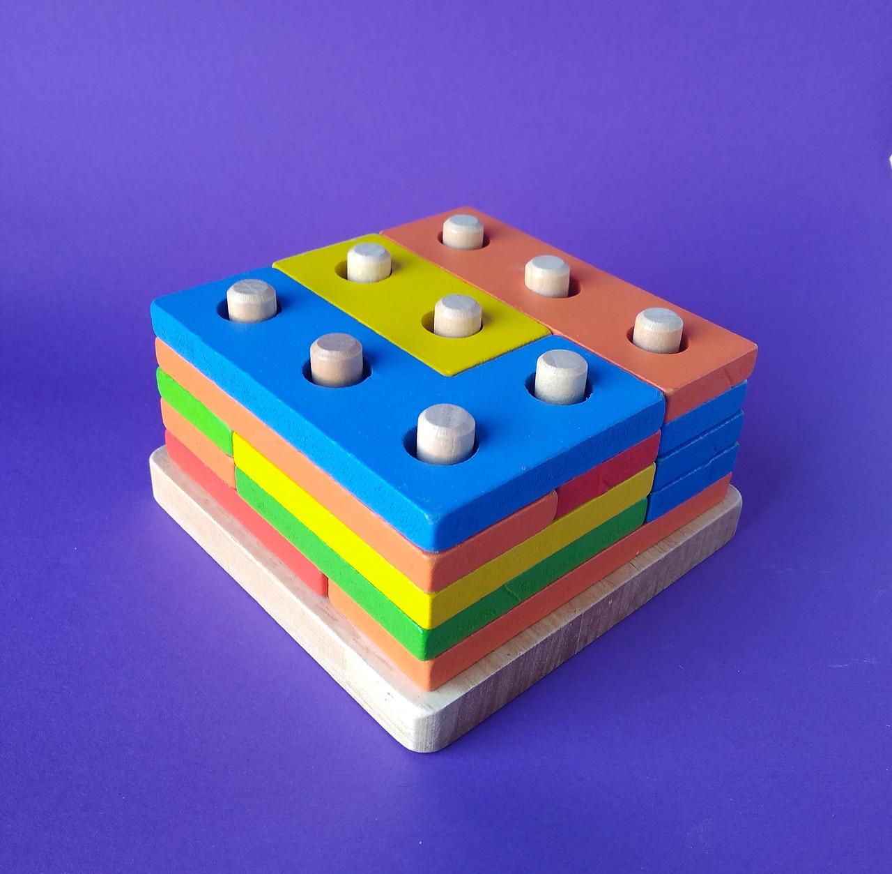 Деревянная пирамидка -тетрис MD 1132