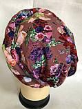 Летняя бандана-шапка-косынка-чалма-тюрбан в цветах, фото 7