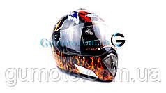 Шлем для мотоцикла Hel-Met 180 черный с рисунком