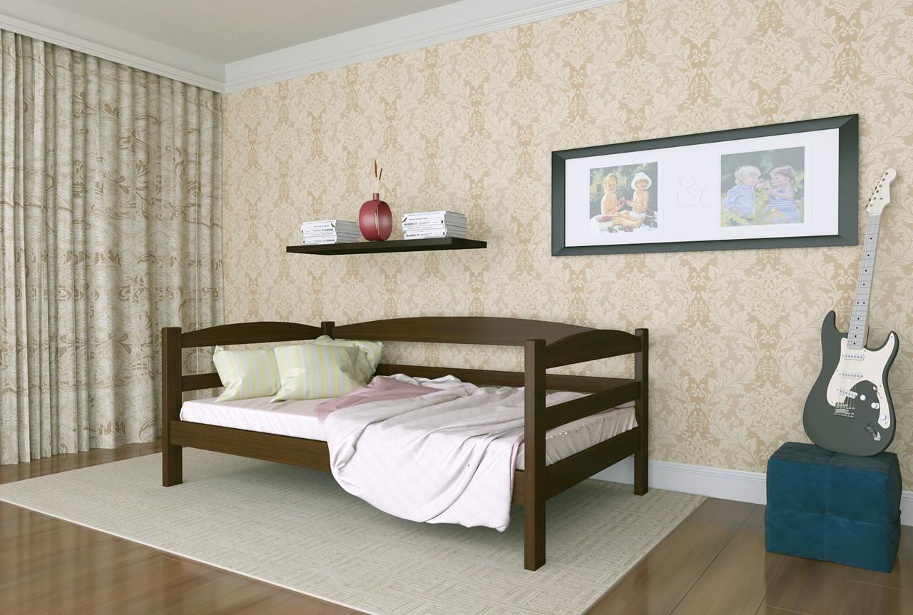 Кровать детская из натурального дерева сосна 80х200 Лёва MECANO цвет Темный орех 15MKR01