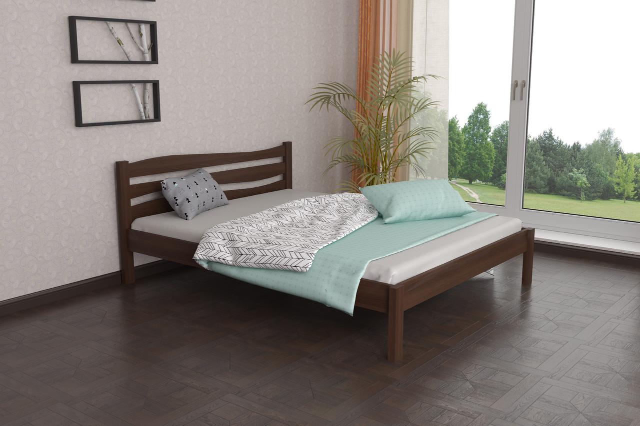 Двуспальная Кровать из дерева сосна 140*200 Посейдон MECANO цвет Темный орех 18MKR04
