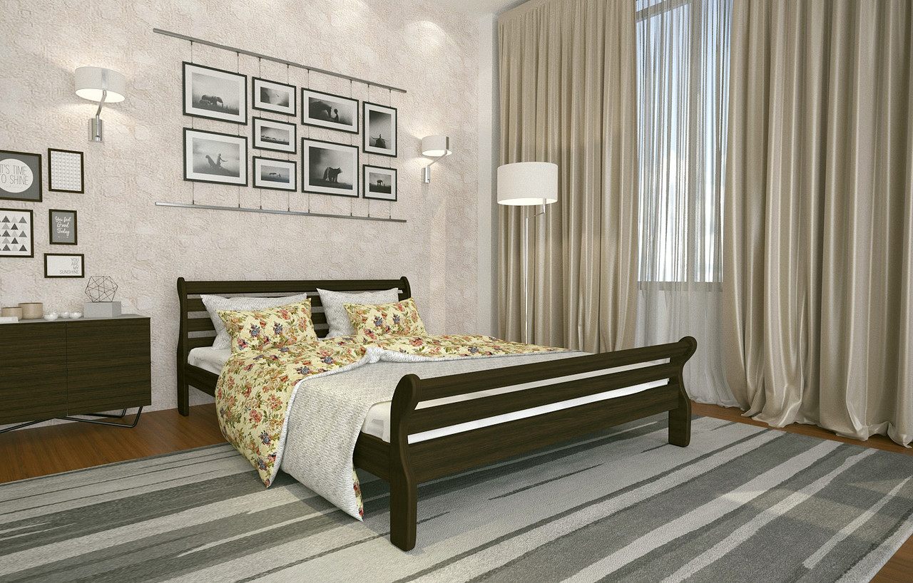 Кровать Двуспальная из дерева сосна 180*200 Аркадия MECANO цвет Венге 3MKR023