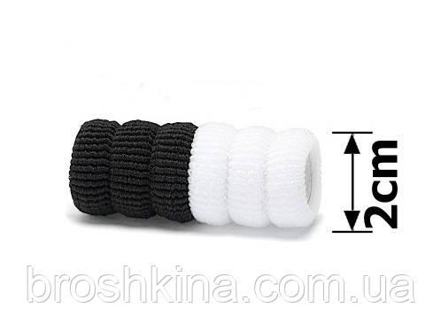 Резинки для волос махра Ø 2 см черные + белые 100 шт/уп.