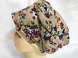 Летняя бандана-шапка-косынка-чалма-тюрбан в цветах, фото 2