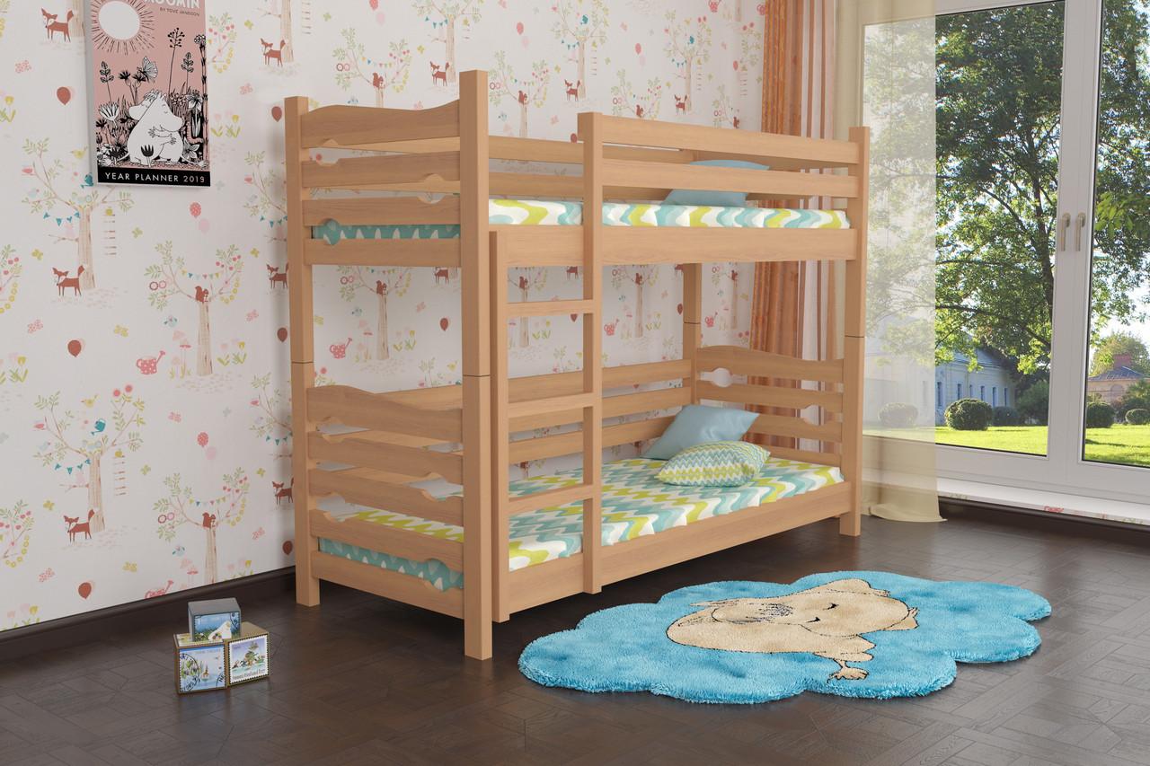 Двухъярусная кровать из дерева Сосна 90*200 Лилу Классик MECANO цвет Светлый орех 16MKR02