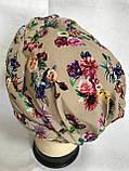 Летняя бандана-шапка-косынка-чалма-тюрбан в цветах, фото 3